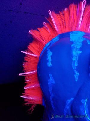 Quietfire Version 2 - Closeup of Mohawk with EL Wire (in the UV Light)